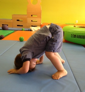 """I'll get that headstand soon, dad!"""